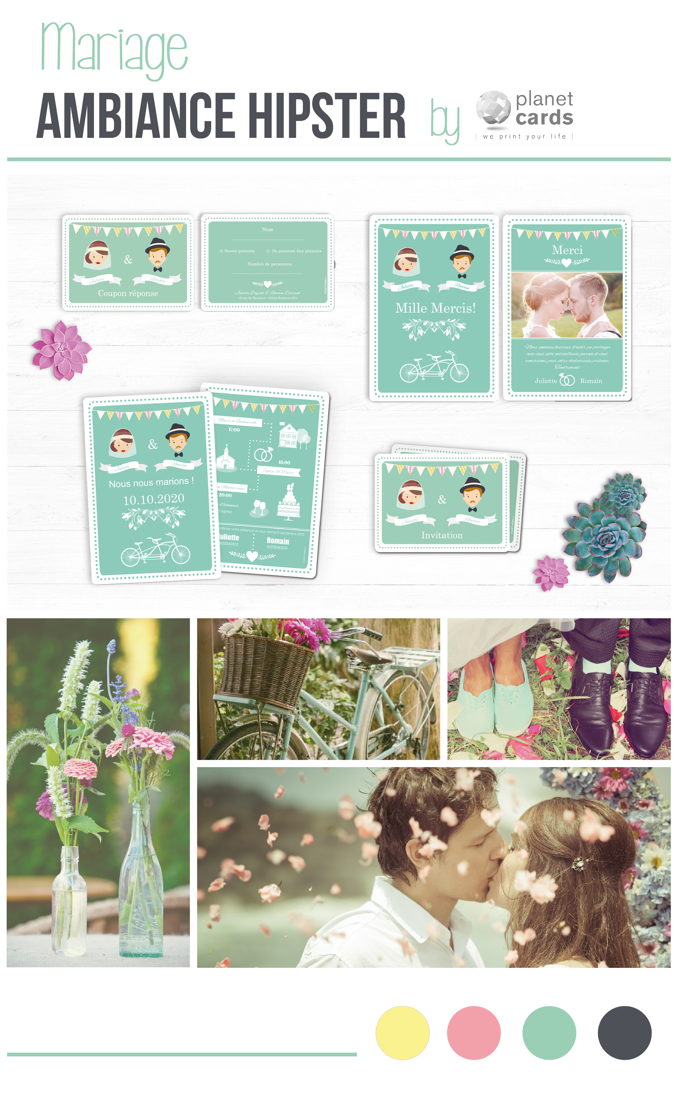 Mariage hipster Planet cards